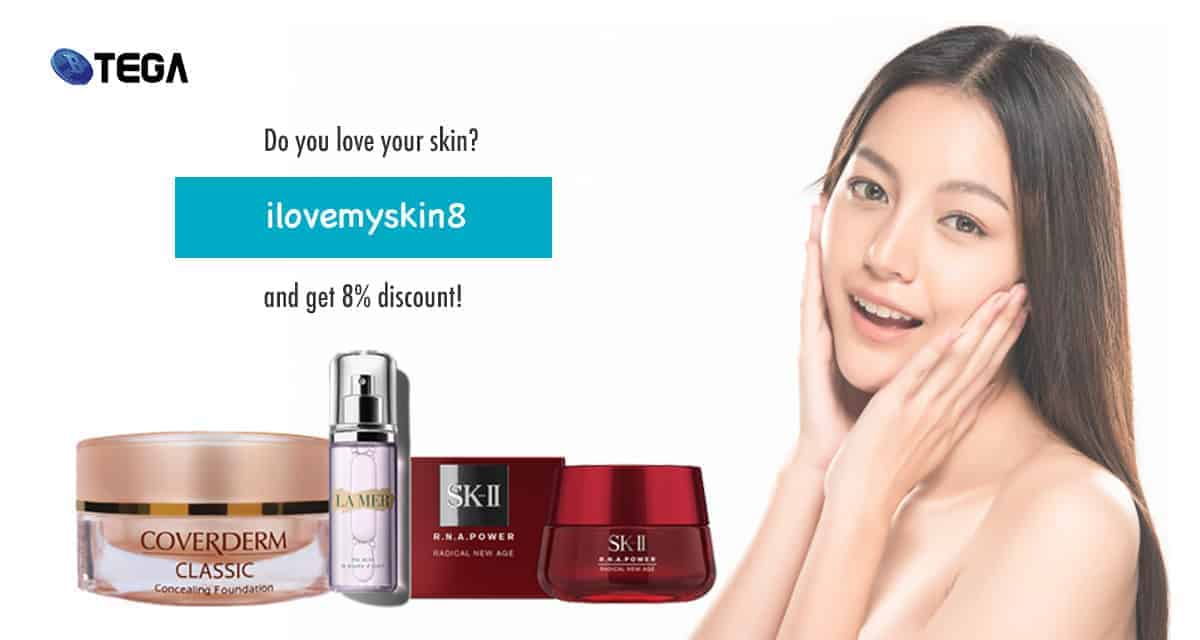 Enter Promo Code ilovemyskin8 to enjoy 8% discount for cosmetic products