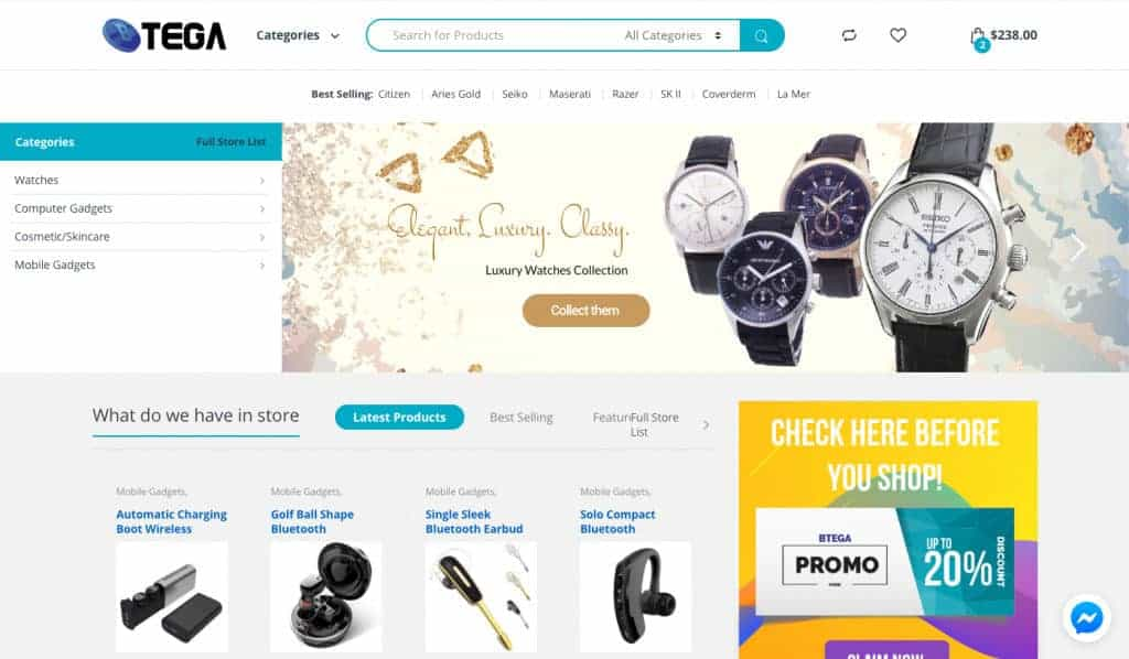 Btega Online Lifestyle Marketplace with over 500 products