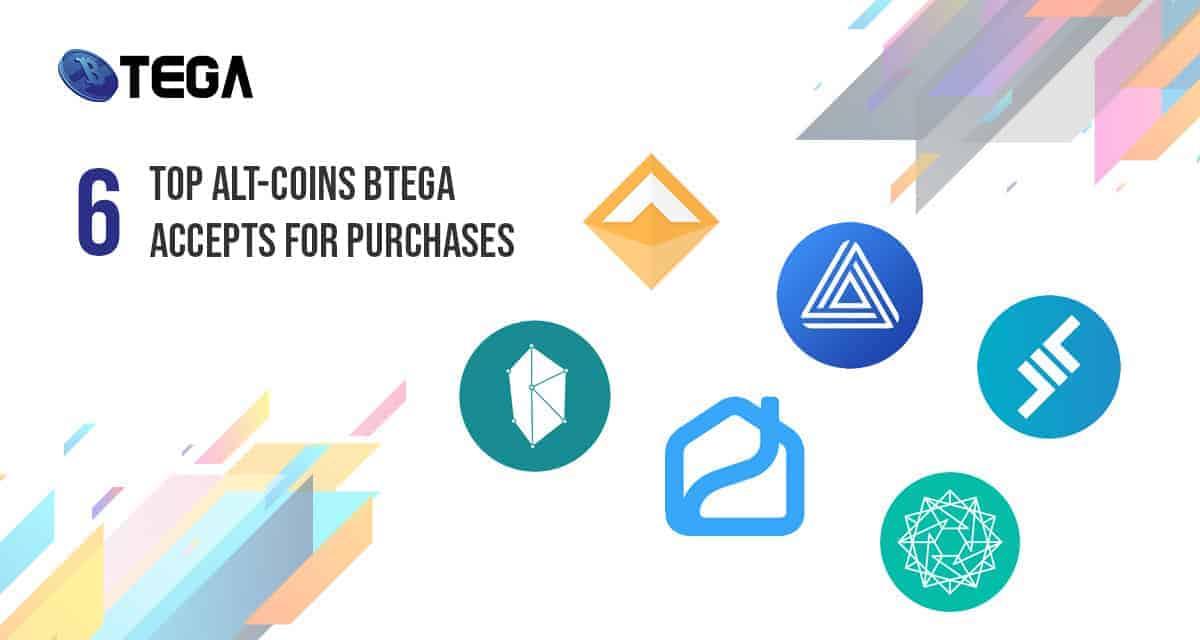 six top alt-coins online shopping site Btega accepts